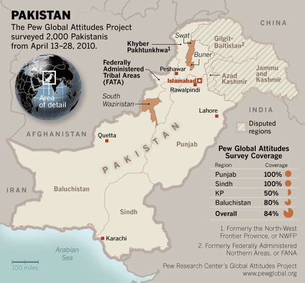 Regional Map Of Pakistan Pew Research Center