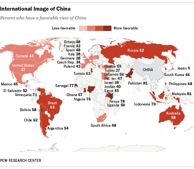 China And Us Map.Global Image Of The United States And China Pew Research Center
