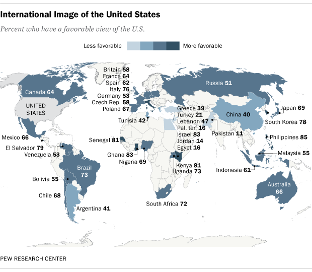 Global Image Of The United States And China Pew Research Center