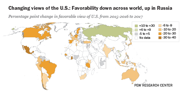Trump Unpopular Worldwide American Image Suffers Pew Research Center
