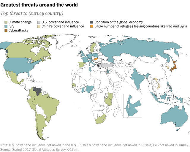 ISIS And Climate Change Seen As Top Threats Globally Pew - Threats to us on a map