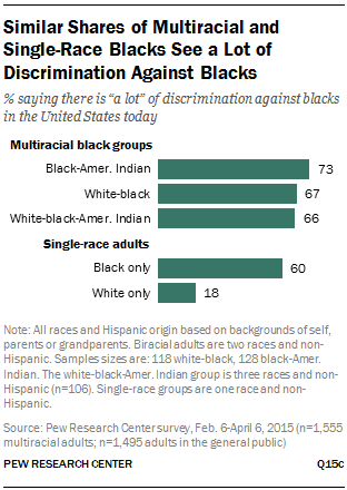 Similar Shares of Multiracial and Single-Race Blacks See a Lot of Discrimination Against Blacks