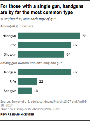 For those with a single gun, handguns are by far the most common type