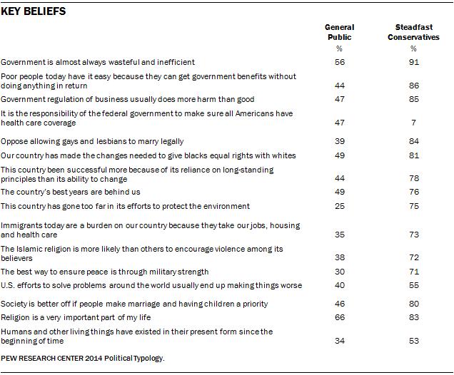Key Beliefs of Steadfast Conservatives