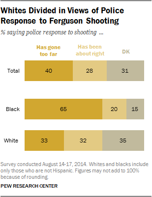 Whites Divided in Views of Police Response to Ferguson Shooting