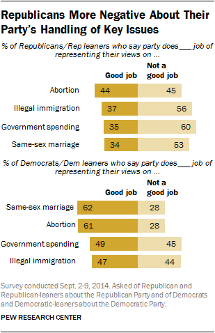 Republicans More Negative About Their Party's Handling of Key Issues