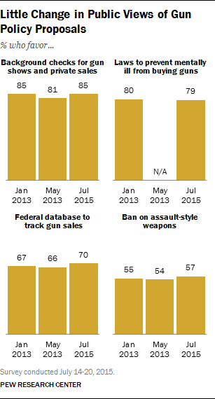 Little Change in Public Views of Gun Policy Proposals