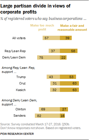 Large partisan divide in views of corporate profits