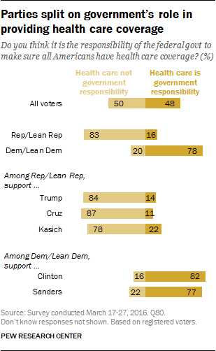 Partisans split on government's role in providing health care coverage