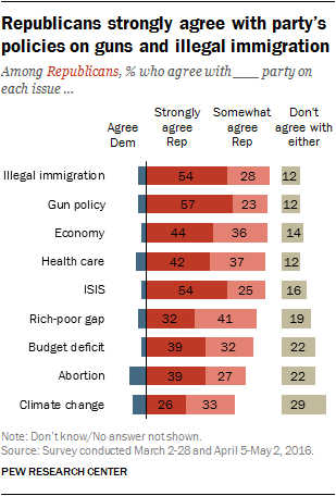 Republicans strongly agree with party's policies on guns and illegal immigration