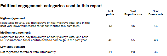 Political engagement categories used in this report