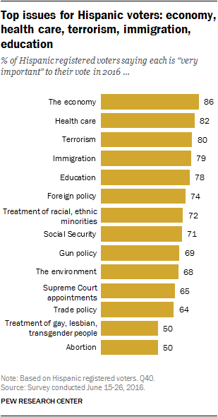 Top issues for Hispanic voters: economy, health care, terrorism, immigration, education