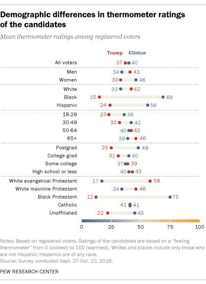 Demographic differences in thermometer ratings of the candidates