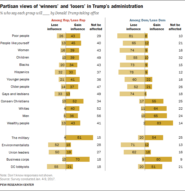Partisan views of 'winners' and 'losers' in Trump's administration