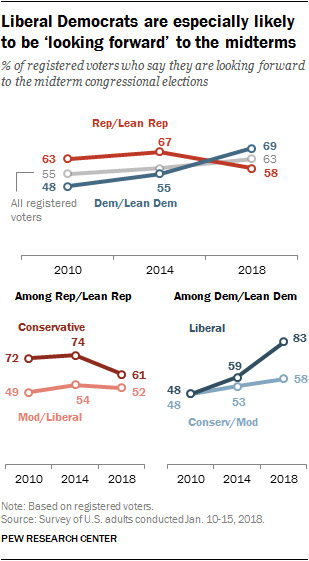 Liberal Democrats are especially likely to be 'looking forward' to the midterms