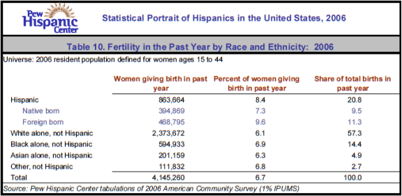 Table 10. Fertility in the Past Year by Race and Ethnicity:  2006