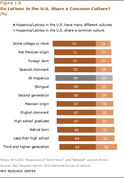 Across Nearly All Major Demographic Subgroups Of Hispanics More Say US Have Many Different Cultures Than They Share A Common Culture