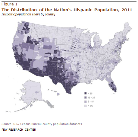 Mapping The Latino Population By State County And City Pew - Us population distribution map by state