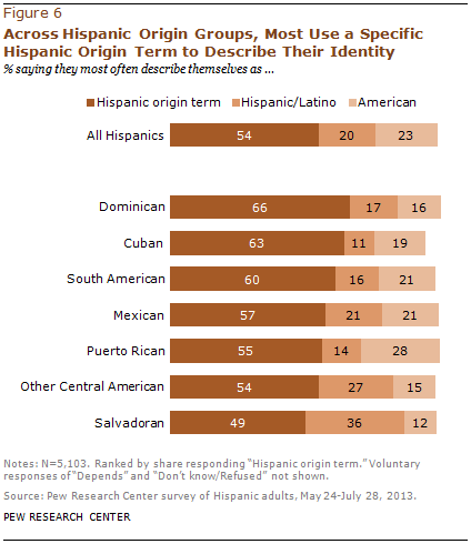 Across Hispanic Origin Groups, Most Use a Specific Hispanic Origin Term to Describe Their Identity