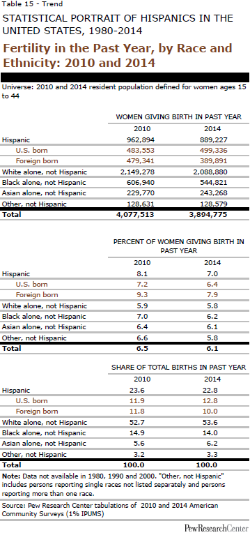 Fertility in the Past Year, by Race and Ethnicity: 2010 and 2014