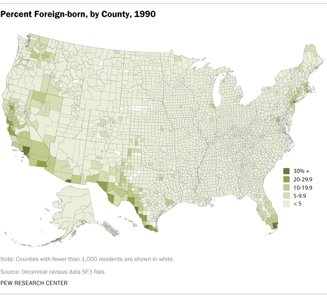 Higher Concentrations of Immigrants in Southwest, Large Cities (1990)