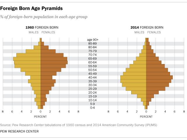 Foreign-born Age Pyramids