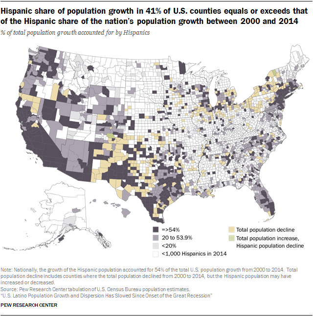 Hispanic Share Of Population Growth In Of US Counties Equals - Map of us population change 2000