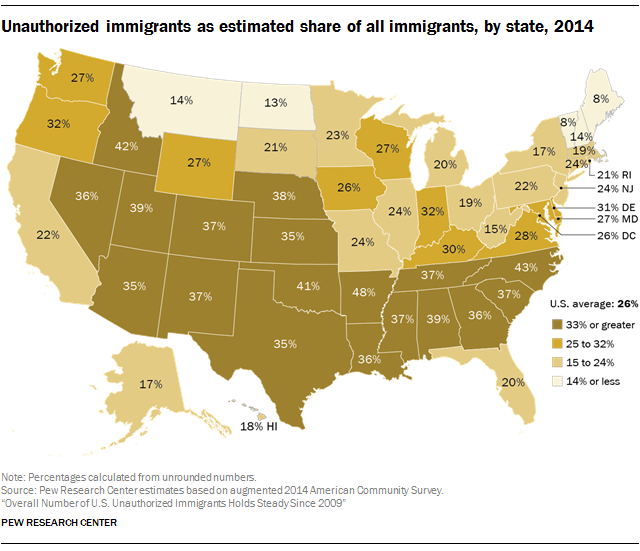 Estimated unauthorized immigrant population, by state, 2014