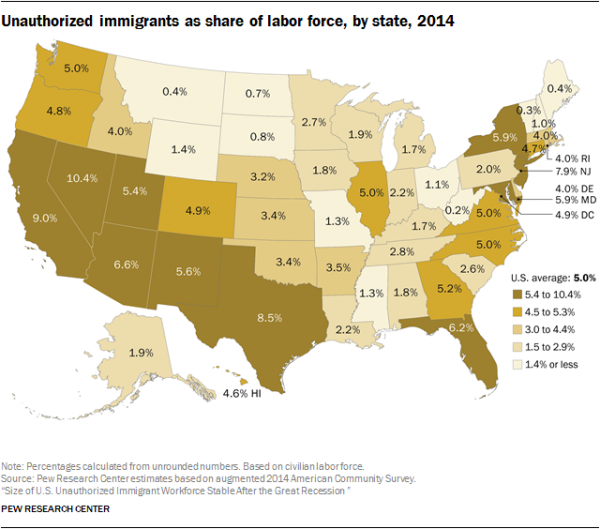 Unauthorized immigrants as share of labor force by state 2014 unauthorized immigrants as share of labor force by state 2014 gumiabroncs Images