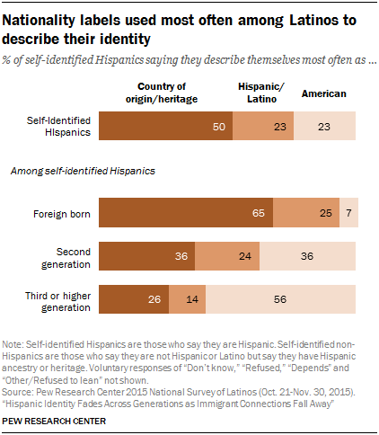 Nationality labels used most often among Latinos to describe their identity