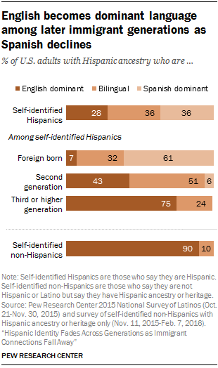 English becomes dominant language among later immigrant generations as Spanish declines