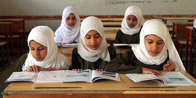 Yemeni students attend class in 2014. (Mohammed Hamoud/Anadolu Agency/Getty Images)