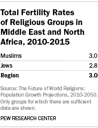 Total Fertility Rates of Religious Groups in Middle East and North Africa, 2010-2015