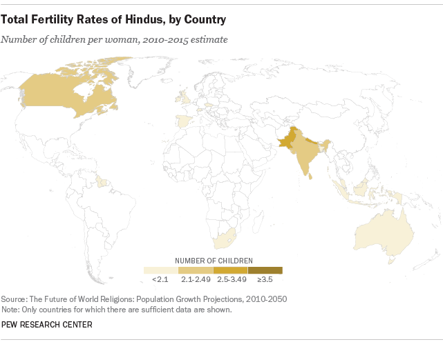 Total Fertility Rates of Hindus, by Country
