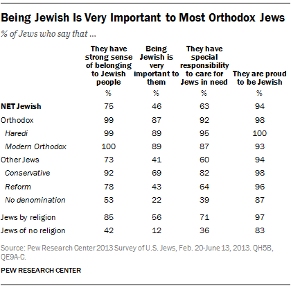 Being Jewish Is Very Important to Most Orthodox Jews