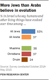 More Jews than Arabs believe in evolution