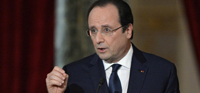 French president Francois Hollande gives a press conference on Jan. 14, 2014 at the Elysee presidential palace in Paris to present his policy plans for the upcoming year. (Credit: ALAIN JOCARD/AFP/Getty Images)