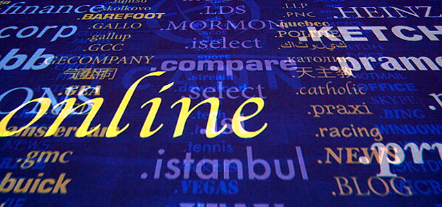 A screen shows a rolling feed of new 'Generic Top-Level Domain Names (gTLDs). (Andrew Cowie/AFP/GettyImages)
