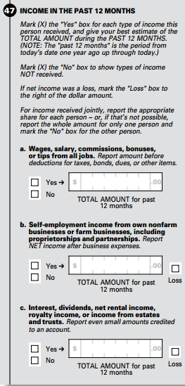 Census questions in the American Community Survey on income that may be changed