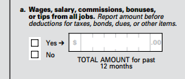 Census Bureau American Community Survey question on wages