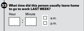 Commuting question on Census Bureau's American Community survey