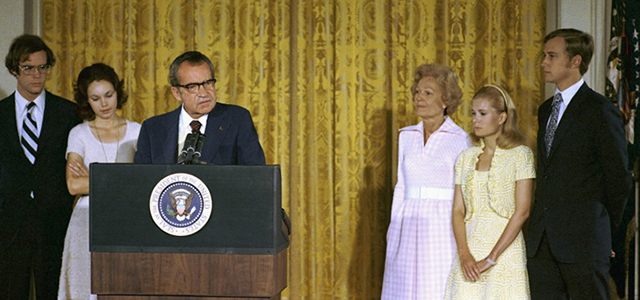President Richard Nixon delivers remarks to the White House staff on his final day in office, Aug. 9, 1974. Credit: White House photo, courtesy Richard Nixon Presidential Library