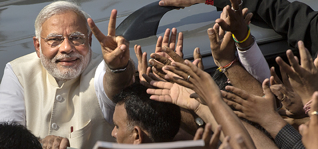 India's BJP Leader Narendra Modi during his campaign for Prime Minister