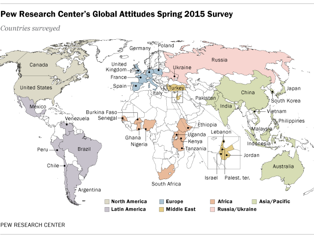 Pew Research Center's global attitudes spring 2015 survey map.
