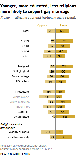 Younger, more educated, less religious more likely to support gay marriage