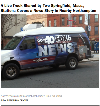 A Live Truck Shared by Two Springfield, Mass., Stations Covers a News Story in Nearby Northampton