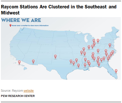 Raycom Stations Are Clustered in the Southeast and Midwest