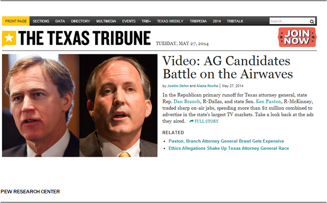 Texas Tribune Homepage