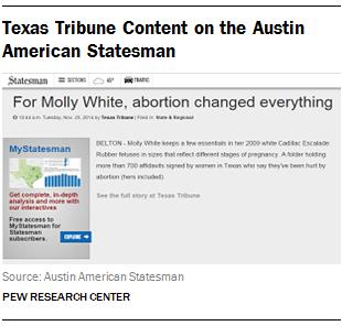 Texas Tribune Content on the Austin American Statesman