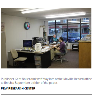 Publisher Kent Baker and staff stay late at the Moville Record office to finish a September edition of the paper.